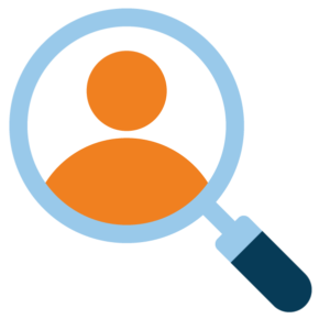 Icon of Magnifying Glass on Person